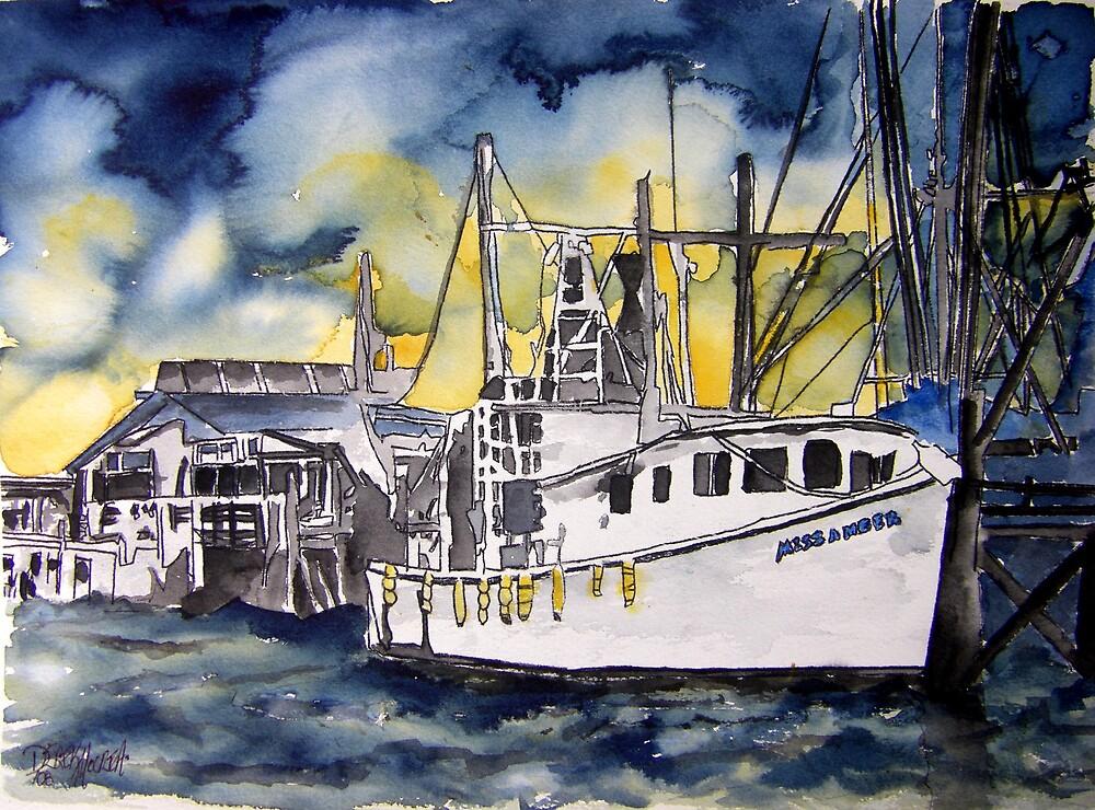Tybee Island Georgia Shrimp Boat Nautical Art by derekmccrea