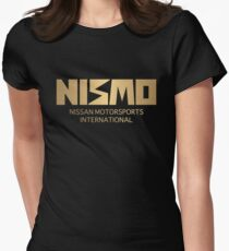 Retro Gold and Black Nismo Nissan Motorsport Logo Women's Fitted T-Shirt
