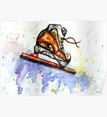 Watercolor Ice Skate Poster