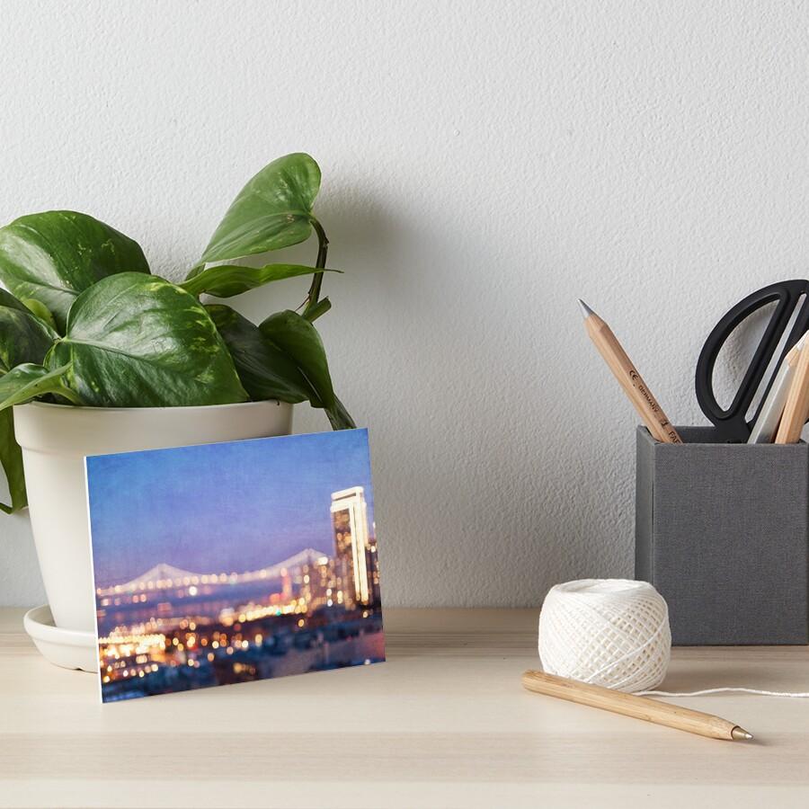 Bay Bridge Glow - San Francisco Art Board Print