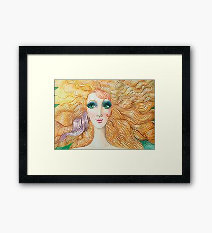 The girl with the purple swirl Framed Print
