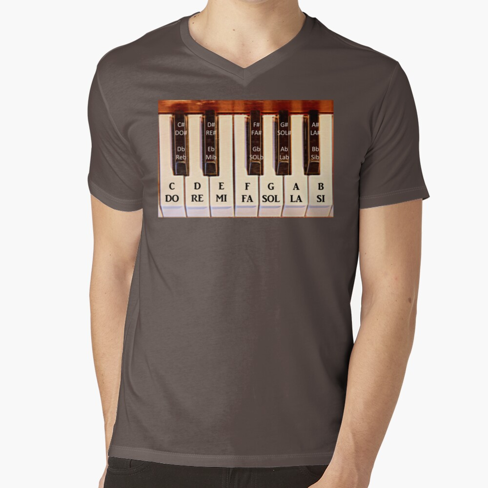Piano Octave DO RE MI V-Neck T-Shirt