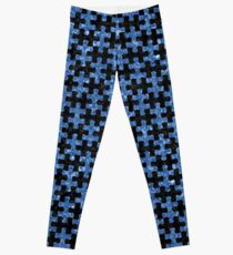 PUZZLE1 BLACK MARBLE AND BLUE MARBLE Leggings