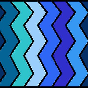Blue Shades Zigzag Pattern by uredian