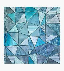 Blue Aqua Glamour Shiny Patchwork Photographic Print