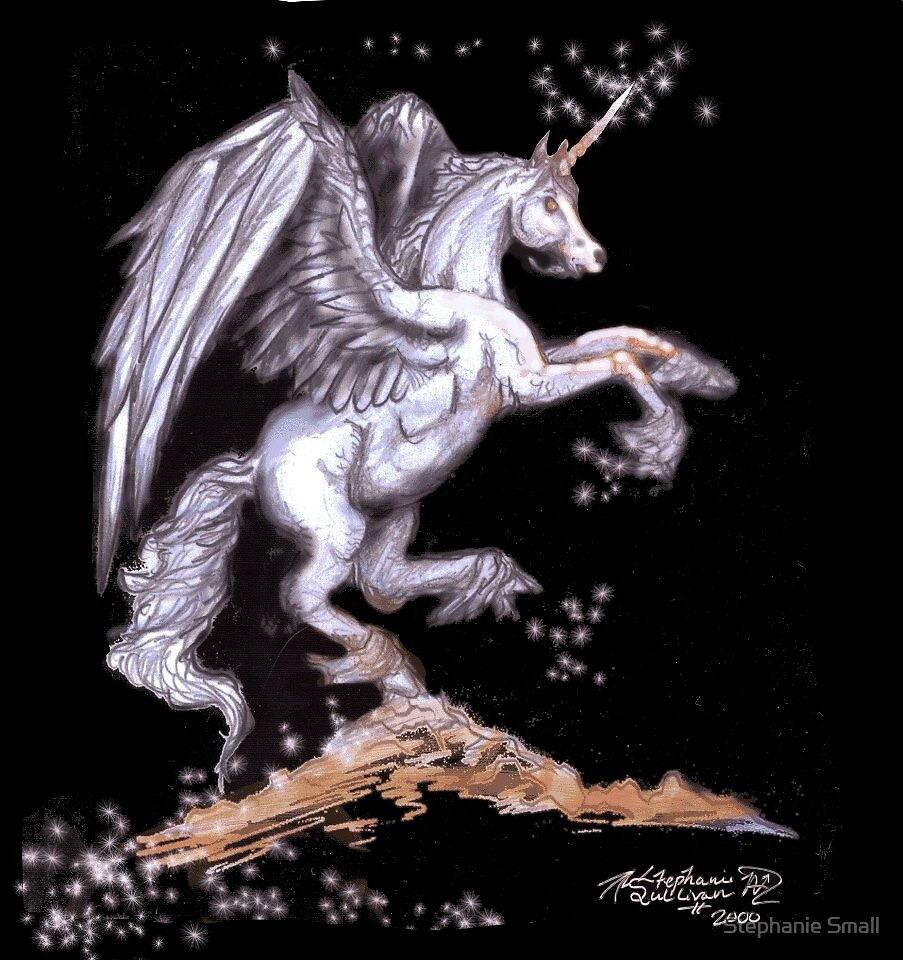 Rearing White Winged Unicorn by Stephanie Small