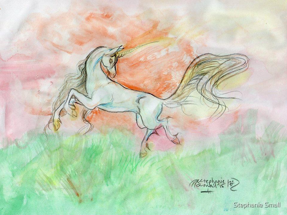 Dancing Unicorn with Crimson Aura by Stephanie Small