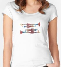 Music Art Water color Women's Fitted Scoop T-Shirt