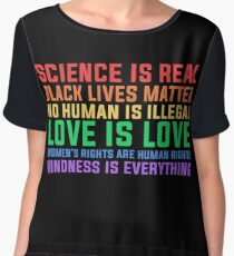 Anti Trump Science is real black lives matter T shirt  Women's Chiffon Top