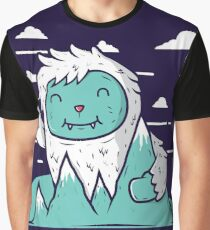 Happy Mountain Yeti, Cartoon Art Graphic T-Shirt