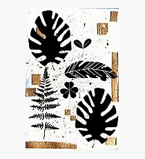 Gold and Black abstract leaves Photographic Print