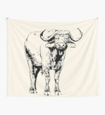 """African Buffalo Bull with Quote """"You owe me money"""" Wall Tapestry"""