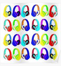 Headphones Pattern Poster