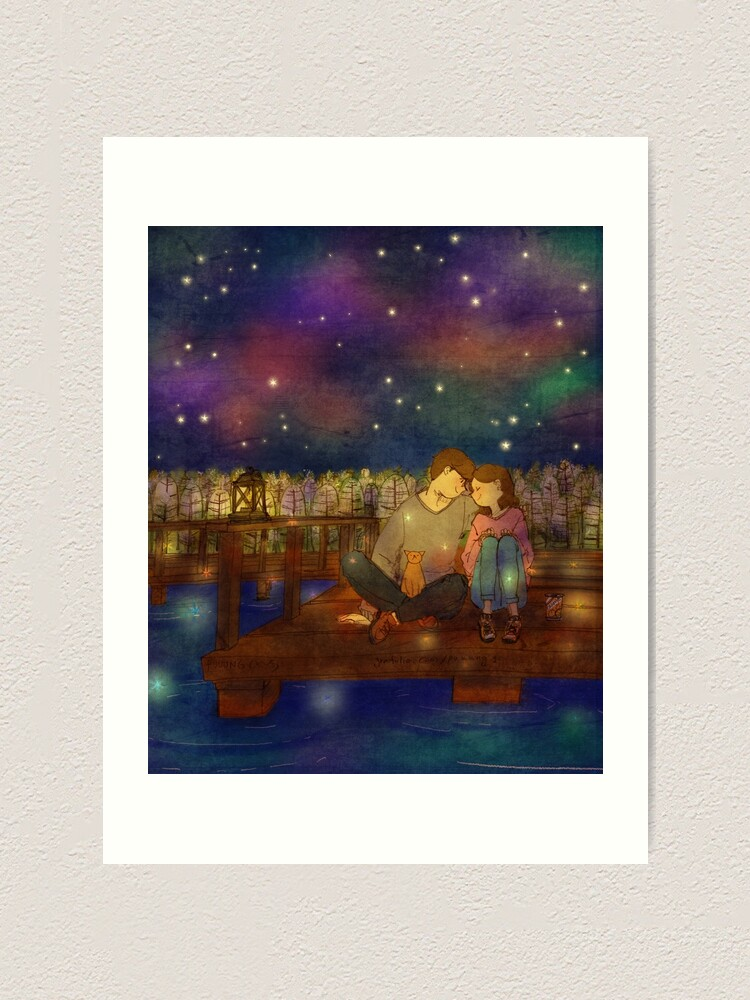 Alternate view of Starry night at the lake Art Print