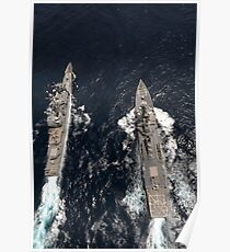 Guided-missile destroyer USS Gridley, left, passes the guided-missile cruiser USS Chancellorsville. Poster