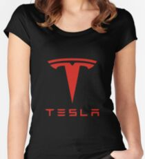 Tesla Red Logo Women's Fitted Scoop T-Shirt