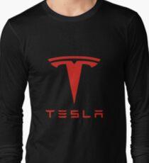 Tesla Red Logo Long Sleeve T-Shirt
