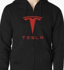 Tesla Red Logo Zipped Hoodie
