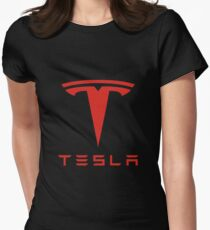 Tesla Red Logo Women's Fitted T-Shirt