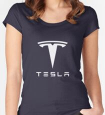 Tesla White Logo Women's Fitted Scoop T-Shirt