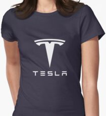 Tesla White Logo Women's Fitted T-Shirt