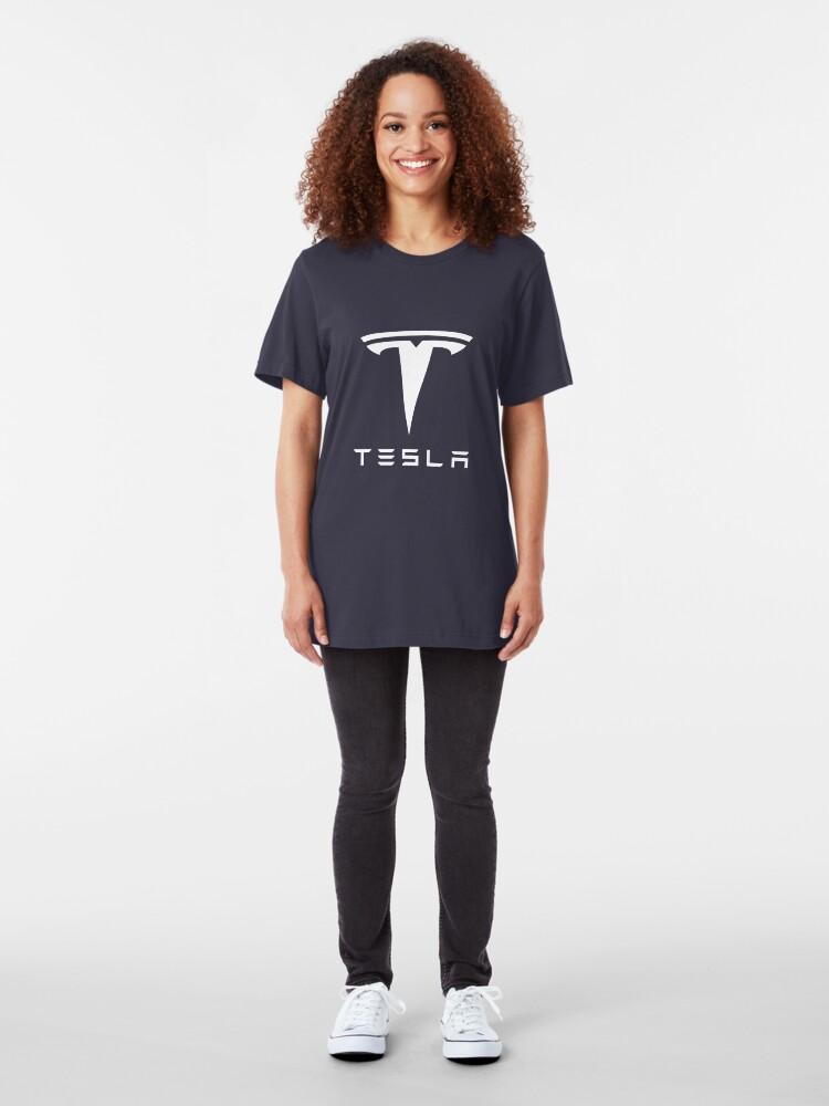 Alternative Ansicht von Tesla weißes Logo Slim Fit T-Shirt