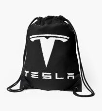 Tesla White Logo Drawstring Bag