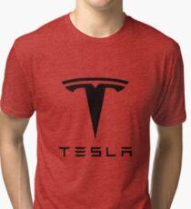 Tesla Black Logo Tri-blend T-Shirt