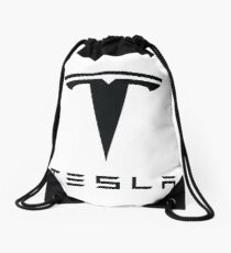 Tesla Black Logo Drawstring Bag