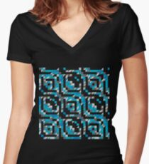 Abstract Polygon Multi Color Low Poly Triangle Quilt  - Snow and Ice Women's Fitted V-Neck T-Shirt