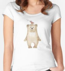 Teddy bear and songbird Women's Fitted Scoop T-Shirt
