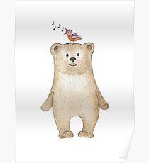 Teddy bear and songbird Poster