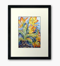 Parrot Tulips in Vintage Vase 'Still Life' © Patricia Vannucci 2008 Framed Print