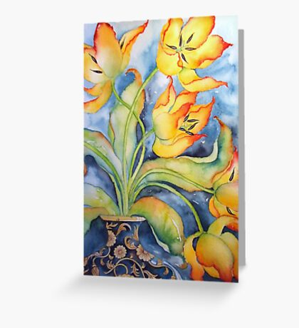 Parrot Tulips in Vintage Vase 'Still Life' © Patricia Vannucci 2008 Greeting Card