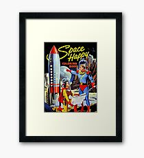 Space rocket, Astronauts, alien world, science fiction cover Framed Print
