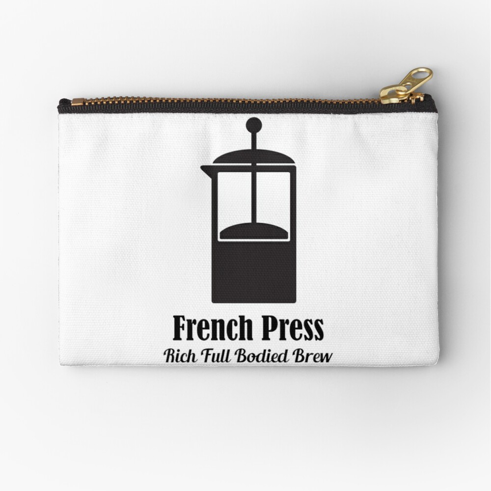 french press cold brew coffee plunger love quotes zipper pouch by