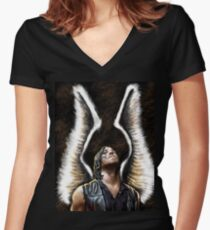Daryl Dixon wings and rain Women's Fitted V-Neck T-Shirt