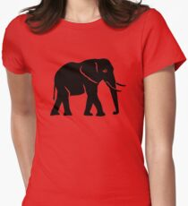 Black elephant Womens Fitted T-Shirt