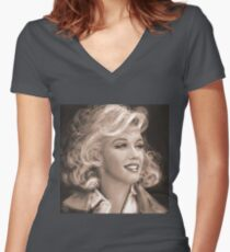 Marilyn Sepia Women's Fitted V-Neck T-Shirt
