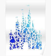 Póster Silueta inspirada en el castillo de carácter azul