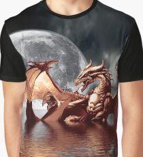 Dragon Moon Fantasy Art Design Graphic T-Shirt
