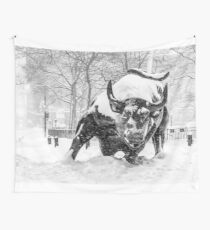 The Wall Street Bull, NYC (in the snow) Wall Tapestry