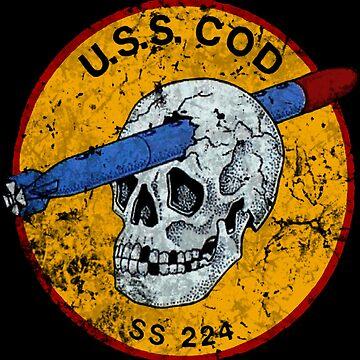 U.S.S. COD Submarine Navy WWII Skull Logo by DudePal