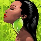Woman African Beauty and Bamboo by BluedarkArt