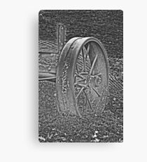 Wagon Wheel Black and White Gray Old Antique Abandoned Photograph Canvas Print