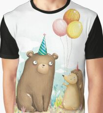 Bear and hedgehog Graphic T-Shirt