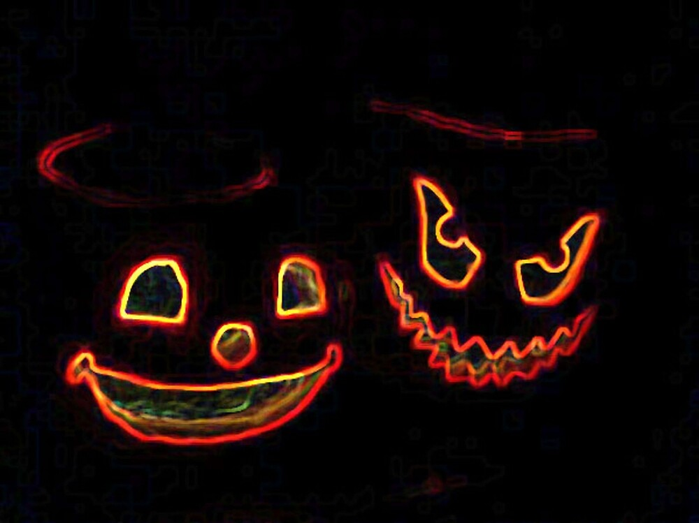 Halloween Pumpkins Good and Evil by EternalRainbow