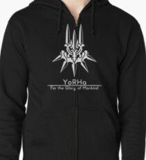 YoRHa + Motto Schwarzer Hintergrund Hoodie mit Reißverschluss