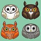 Four Round Owls by Plumicorns