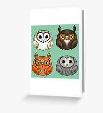 Four Round Owls Greeting Card